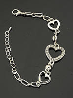 Браслет женский металлический под серебро, сердечки Сrystal 17 см. 'FJ' 030899