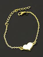 Браслет с сердечком под золото, на цепочке 'FJ' 030950