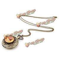 Винтажные дерева цветок цепи аналоговые ожерелье унисекс карманные часы