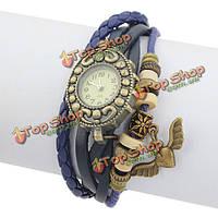 Кожа ангела вязать бусы бронза винтажный браслет женщины наручные часы