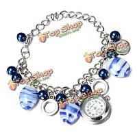 Моды женщин бусы браслет браслет ювелирных изделий кварцевые наручные часы