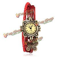Кожа вязать бабочки из бисера браслет старинные женщин наручные часы