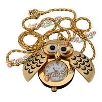 Золотая серебряная сова кулон ожерелье цепь кварцевые карманные часы