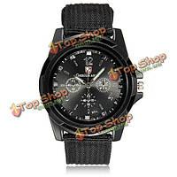 Моды для мужчин черный военный летчик армии холст группа кварцевые наручные спортивные часы