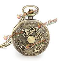 Винтажные Дракон цепи аналоговые ожерелье унисекс карманные часы