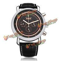 Jaragar механические PU кожа 3 Циферблат черный мужские наручные часы