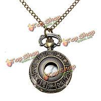 Старинные латунные животных резной кулон ожерелье кварцевые карманные часы