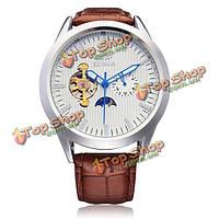 Sewor PU кожаный коричневый механическая маховик серебро мужские наручные часы