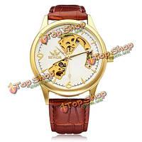 Sewor золото циферблат коричневый кожа PU механические наручные часы мужчины