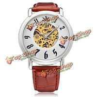 Sewor большой циферблат ряд коричневой кожи PU механические наручные часы мужчины
