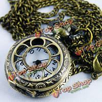 Античный полые кварцевые карманные часы ожерелье цепь подарок
