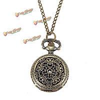 Старинные медные гравированные бронзовые кварцевые карманные часы кулон ожерелье