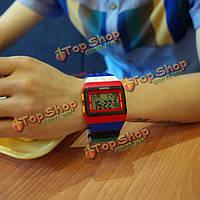 Мода радуги игрушка строительные блоки силиконовые цифровой LED наручные часы