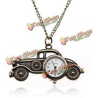 Бронзовый старинный автомобиль длинной цепи ожерелье карманные часы