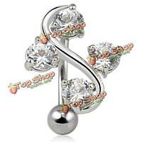 Серебряный кристалл лозы обратный живота кольцо кольцо пупка пирсинг s форма