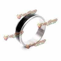 Серебро из нержавеющей стали черная полоса палец кольцо для женщин