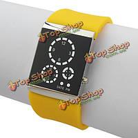 LED три круга цифровые спортивные резиновые квадратные женщины мужчины наручные часы