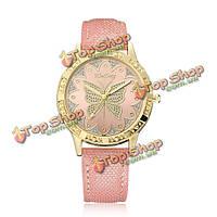 Kimseng моды золотой цвет кейс бабочка шаблон циферблат леди наручные часы случайные женские часы