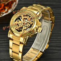 MCE 60176 золото автоматические механические женские часы горный хрусталь из нержавеющей стали полоса сплава набрать wristwatc