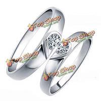 925 Sterling серебро кристалл Diamante сердце пару обручальных колец