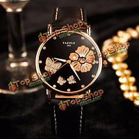 Yazole 343 светящийся водонепроницаемый бабочка цветы свадьба досуг леди женщин кожа кварцевые часы