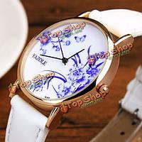 Yazole 349 Ретро китайский стиль синий и белый фарфор циферблат Кожаный ремешок женские часы