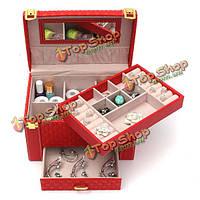 Кожа колье серьги кольцо ювелирных изделий косметической ящик для хранения организатор