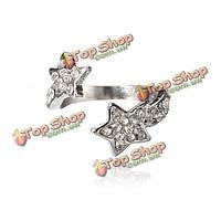 Серебряные звезды горный хрусталь с раскрытием кольца для женщин