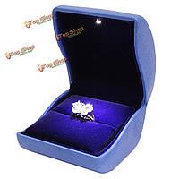 Роскошь синий пу кожа LED зажгли кольцо кейс дисплей ювелирных изделий подарочной коробке