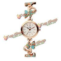 JW-3356 модные женщины круглый циферблат бабочка браслет из нержавеющей стали кварцевые часы