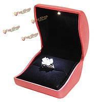 Красная кожа LED зажгли кольцо витрина подарок ящик для хранения ювелирных изделий