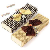 Bowknot бамбука деревянный браслет кольца ящик для хранения ювелирных изделий случай