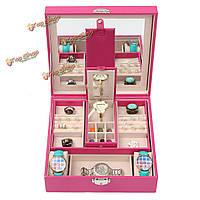 Пу кожаный браслет ожерелье кольцо коробка ювелирных изделий хранения дисплей