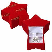 Красный бархат звезда кольцо в форме ювелирных изделий коробка кейс для хранения пакет подарка