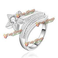 Посеребренные кристально горный хрусталь звезды открытия перстень для женщин