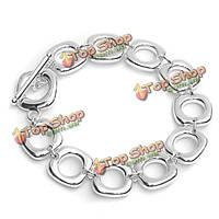 925 серебро шарм площади звено цепи браслет ювелирные изделия женщин