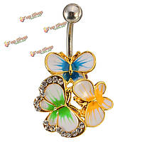 Кристалл красочные живота пупка ювелирных бар кольцо бабочка тела