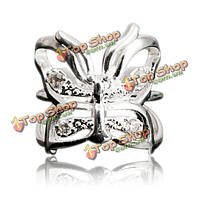 Посеребренные бабочки полый регулируемый открытый палец кольцо женщины ювелирные изделия