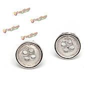 Мило посеребренные круглая кнопка уха шпильки серьги женщины ювелирные изделия
