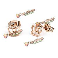 Корейский мило серебро розового золота гальваническим корону уха серьги стержня