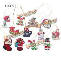 12шт Санта-Клауса снеговик несут деревянный висят рождественских орнамент