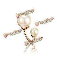 Двойной жемчужина U-образный открытия сплава перстень для женщин