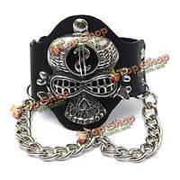 Кожаный черный браслет Череп с цепями