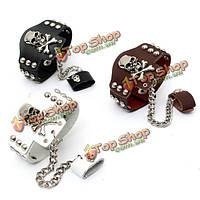 Кожаный браслет Череп с металлическими заклепками