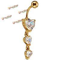 Золото живота пупка кольцо сердце горный хрусталь сексуальное тело ювелирных пирсинг