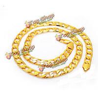 Золото коренастый кольца плоские бордюрный мужчины ожерелье ювелирных изделий