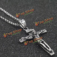Крест кулон иисус очарование серебряные цепи ожерелье нержавеющей стали