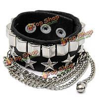 Панк-метал звезды кисточкой цепи кожаный браслет манжеты браслет браслет