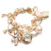 Модные женщины заблокировать ключ бантом жемчужное золотой браслет кварцевые часы
