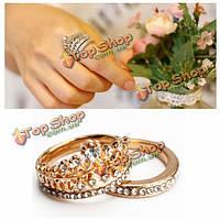 2шт элегантный золотой серебро кристалл rhinestone короны кольца для женщин